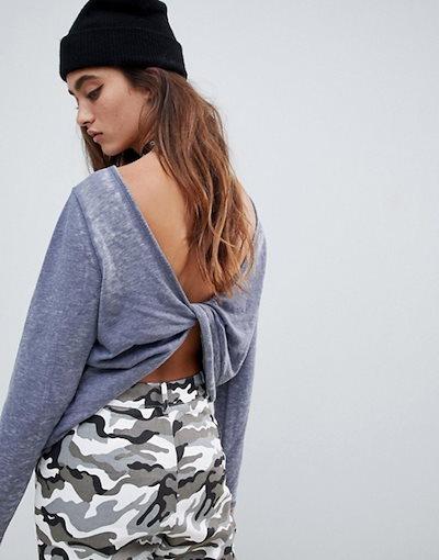 エイソス レディース パーカー・スウェット アウター ASOS DESIGN sweatshirt with twist back in washed black