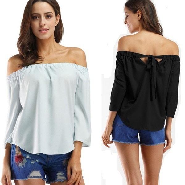 Fashion Women s Off Shoulder Tops Long Sleeve Shirt Casual Blouse Loose T-shirt
