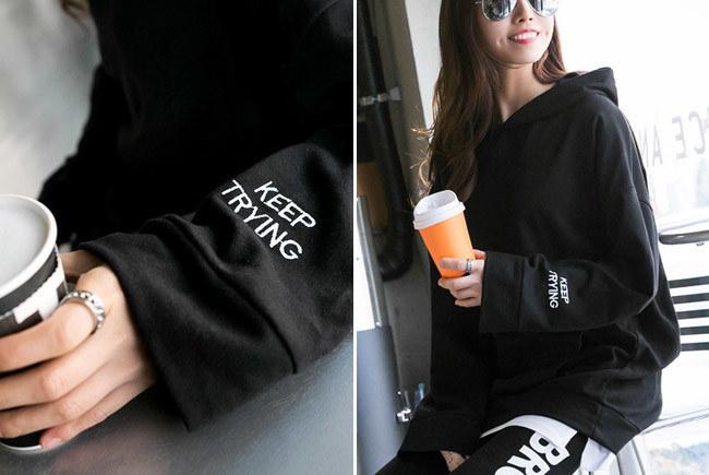 \大人カジュアルにピッタリの1枚♪/★送料無料★ワードプリント プルオーバー パーカーカットソー[レディース] 韓国ファッション ワンピース Tシャツ ルームウェア セットアップ トレーナー