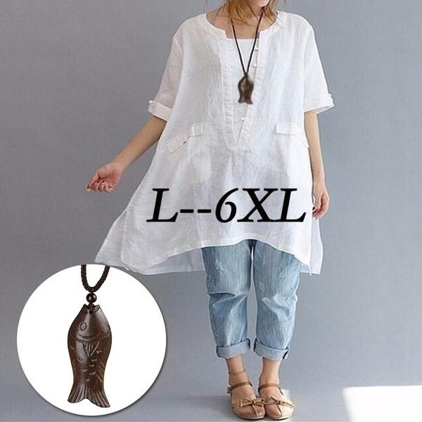 夏不規則プラスサイズファッション非対称レジャールーズフィットリネン半袖シャツLadi