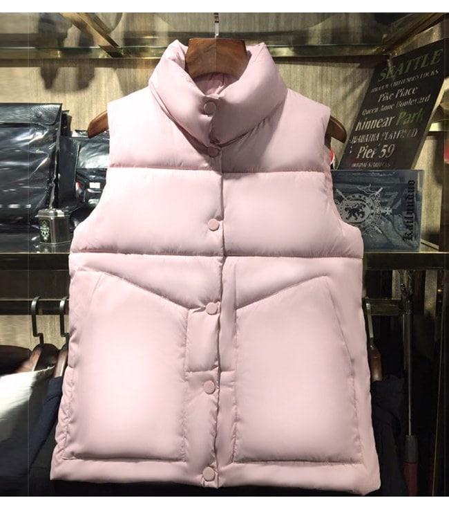 レディース服 女性 秋 冬 暖かい 綿ベスト トップス チョッキ ダウンベスト ノースリーブ 厚手 短い丈 ショート丈 ポケット ガーリー ファッション