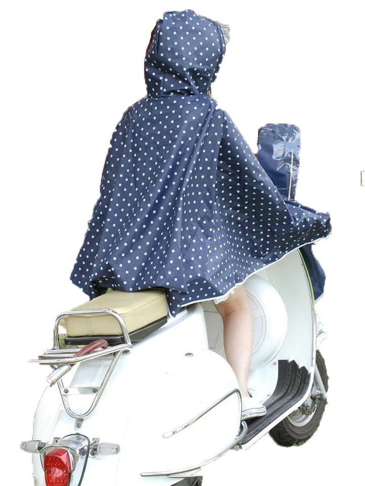 自転車 バイク レインコート レインポンチョ 体にやさしい EXA素材 ドット柄 フリーサイズ 全2色 レッド ブルー