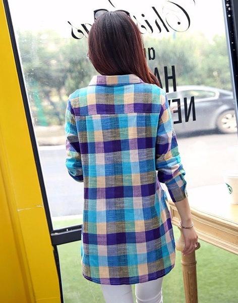 新しいファッション女性のカジュアルな長袖のチェック柄のプリントシャツロングトップブラウス