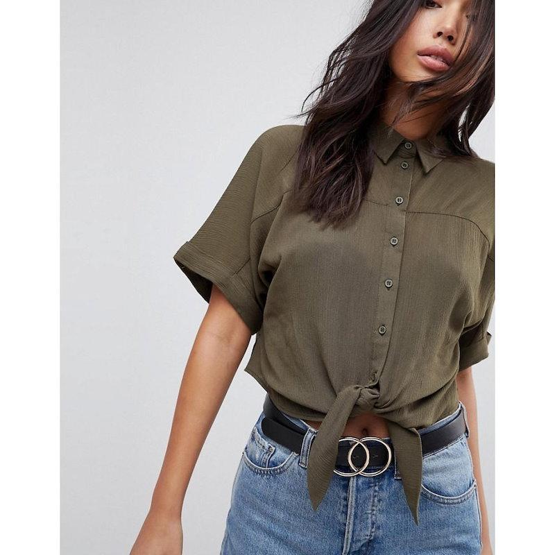 エイソス レディース トップス ブラウス・シャツ【ASOS Tie Front Shirt in Crinkle】Khaki