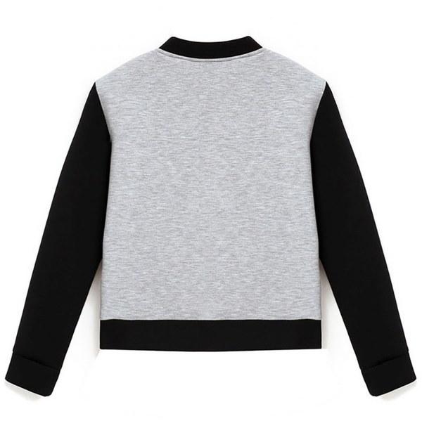 NEW ARRIVALレディースファッションカラーブロックジップアップベースボールジャケットプラスサイズバーシティボンバージャケット(SIZ