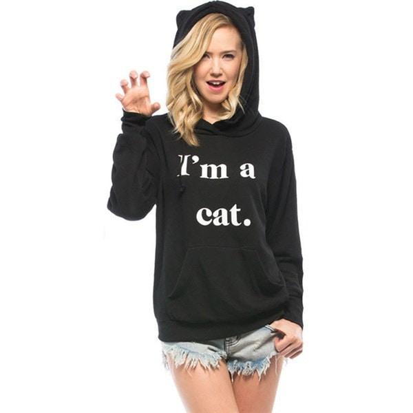 新しいヨーロッパとジェットパーカーの手紙の秋私は猫セーターコートの秋