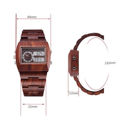 Anself Men Dual Time Environmental High Quality Analog-Digital Double Time Display Wooden Wristwatc