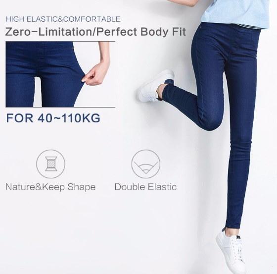 ホットファッションレギンスブルーS  -  5XL女性ミッドウエストプラスサイズの女性高弾性フルサイズのズボンSkinn