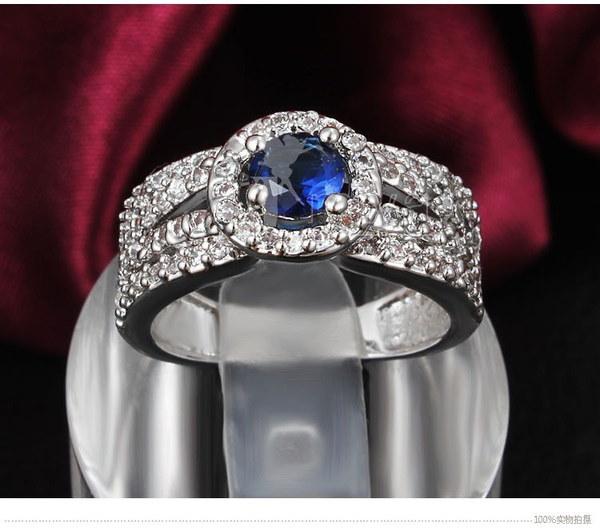 女性のファッション925スターリングシルバー人工ダイヤモンド18kゴールドメッキリング