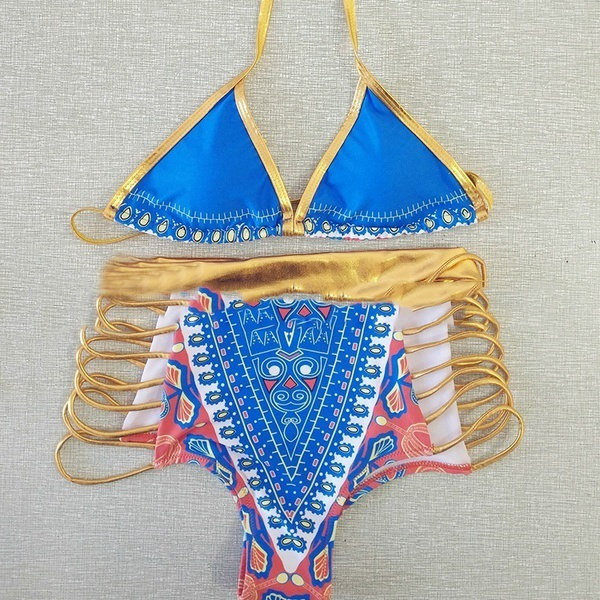 African Print Sexy Swimsuit Swimwear Geometric Gold High Waist Bathing Suits Two Pieces Bikini Set