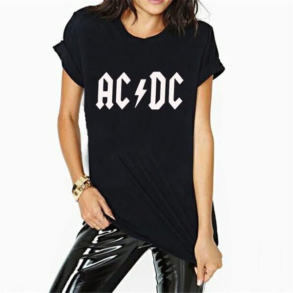 新しいファッションACDCプリントTシャツレディースコットントップス&ティー