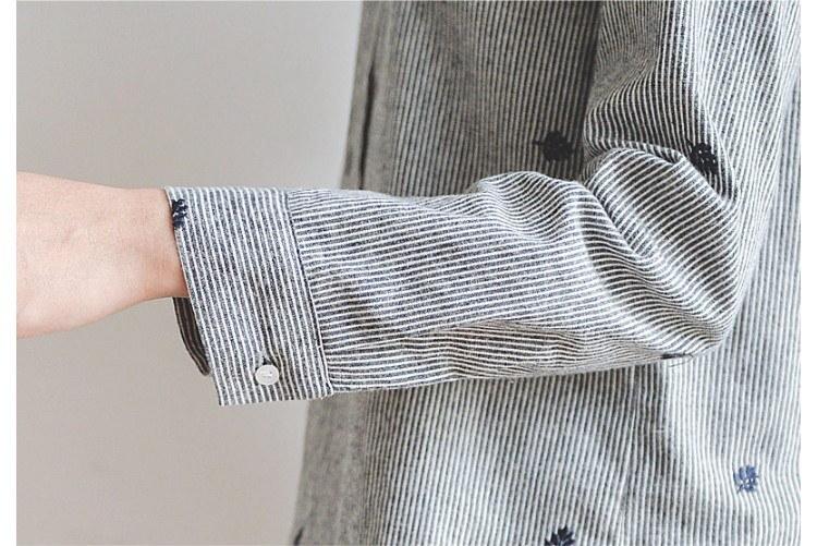 秋 冬 グレン グレーシャツ 丸首 ブラウス 葉刺繍 オフィス レディース 長袖 フォーマル トップス 大きいサイズ 可愛い 刺繍が魅力のヒッコリーシャツ リーフ刺繍 ヒッコリーストライプスタンドネッ