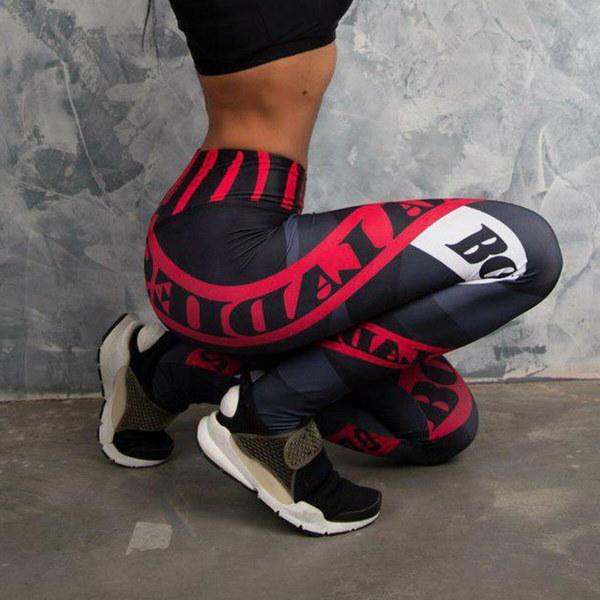 ヨガパンツフィットネスレギンススポーツ弾性通気性のある女性のタイツセクシーなスリムクラックルプリントを実行する