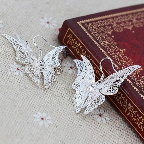 ジャクソンショップ新しいファッションレディース耳たぶの宝石925メッキ銀の女性の優雅な魅力的なバタフル