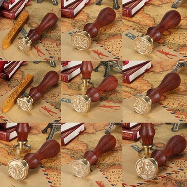 1 Pcクラシック26文字アルファベット初期フラワーウェディングシールワックススタンプポストブラス銅ヘッド