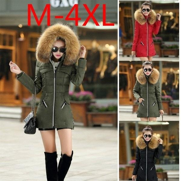 ファッション女性の冬暖かい厚いパーカーフォックスファーカラースリムジップダウンジャケットロングコートオーバーコートパーカー