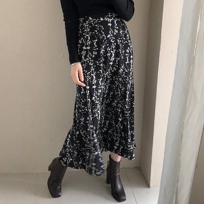[REFLOWER]★2COLOR★韓国ファッション/ロング/バンディング/フラワー/シフォン/パターン/スカート/ハイクオリティー