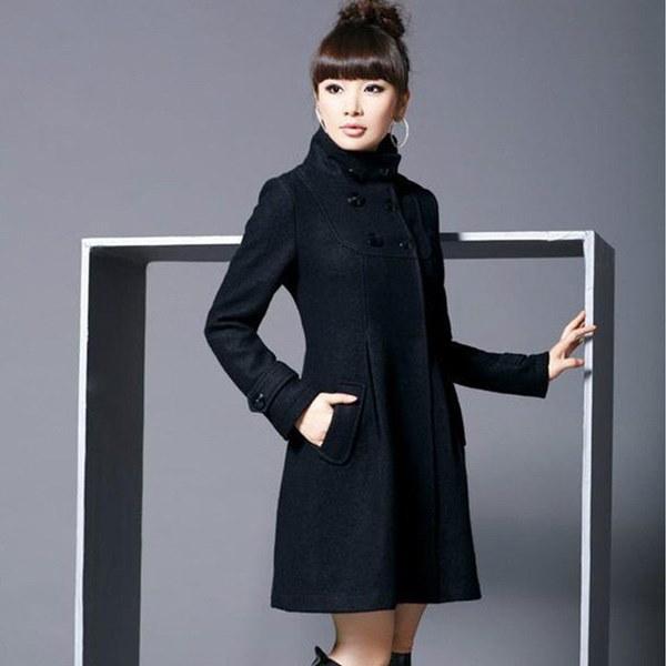 女性のファッションコートジャケットダブルブレストピーコートオーバーコートウールフード付きアウターウェアトレンチコートオート