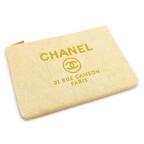 シャネルシャネル クラッチバッグ CHANEL A80117 Y25368 2B178/SV ポーチ ドーヴィル キャンバス イエロー 【ILB】