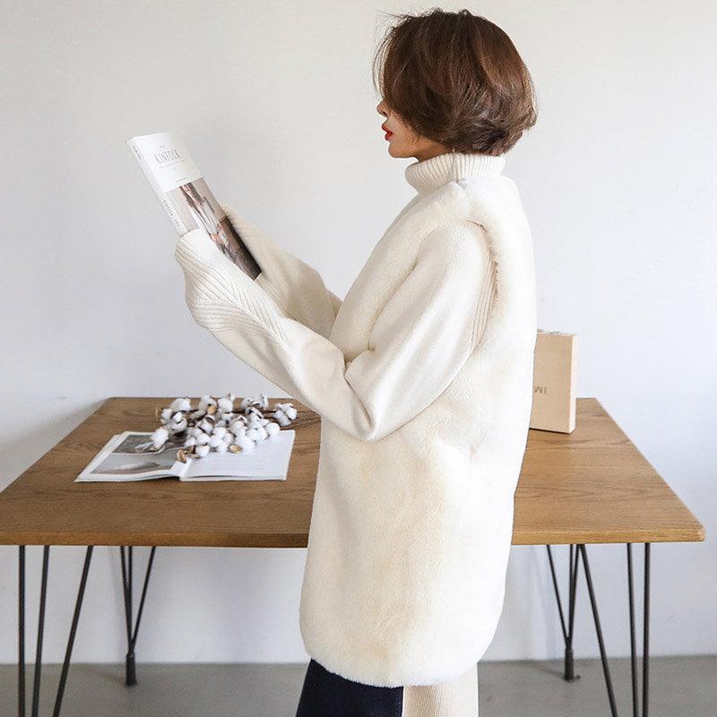 ♥送料 0円★PPGIRL_B003 Simple fur vest / long vest / faux fur vest / fake fur / casual vest / outer