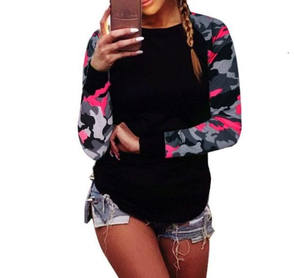 S〜5XLプラスサイズファッション女性迷彩長袖トップカーブ裾スリムフィットブラウスプルオーバーカジュアル