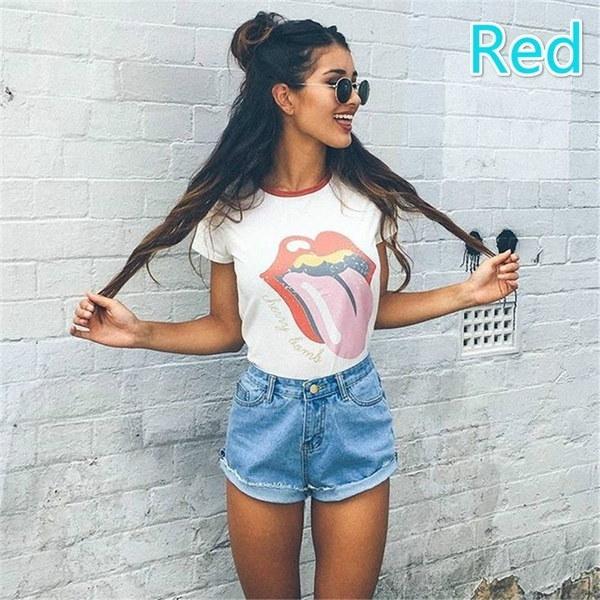 女性の夏の半袖プリントTシャツかわいいトップスのティー