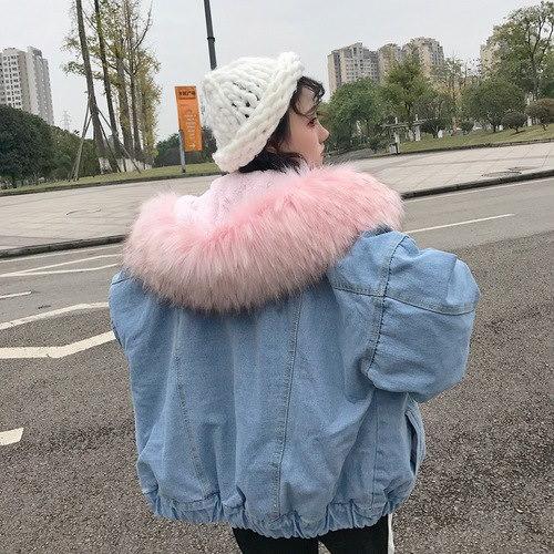 韓国ファッション 暖かデニム ジャケット レディース 秋冬 デニムコート ふわふわ 長袖アウター ネイ
