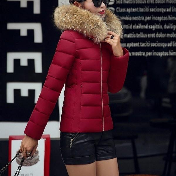 レディースファッションダウン&パーカスコットンパッズジャケットラージフェイクファーカラーウィンターコート