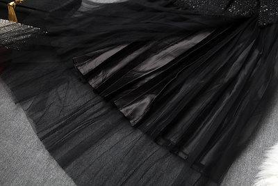 【大きいサイズ★S~2L★パーティー 結婚式 二次会 披露宴 上質素材 ツイード チュール切替重ねる風ドレス ワンピ】上は上質ツイードの生地を使い、大人上品感を与える!