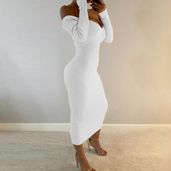 女性セクシーなリブ編みオフショルダーBodyconマキシドレス