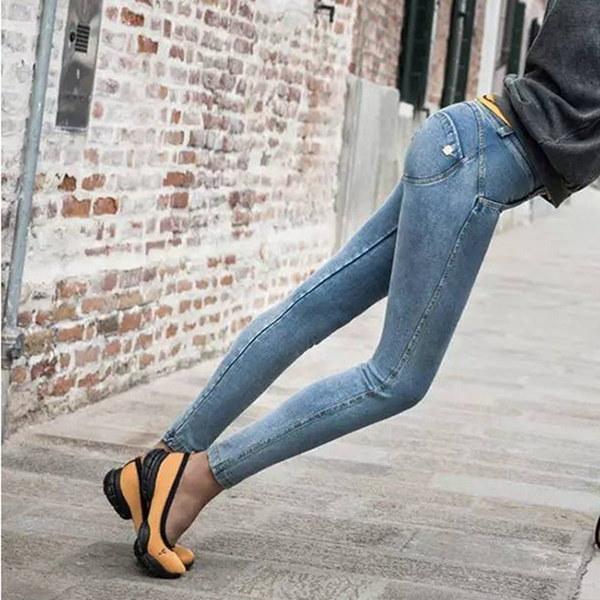 ファッション女性フィットネスレギンスフレディジーンズデニムパンツスリムペンシルパンツXS-XLグレー/ダール