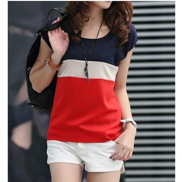 レディースサマーレッドホワイト/ブルーシフォン半袖Tシャツ