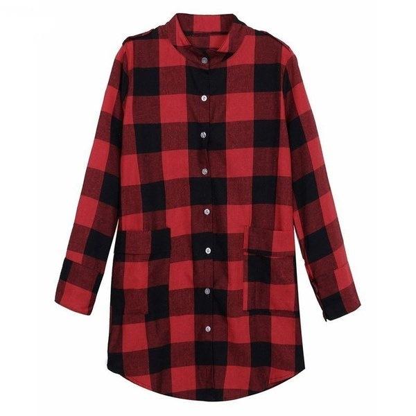 新しいレディースファッションスタンドカラースコットランドのチェック柄チェックタータンカジュアルトップスシャツコート