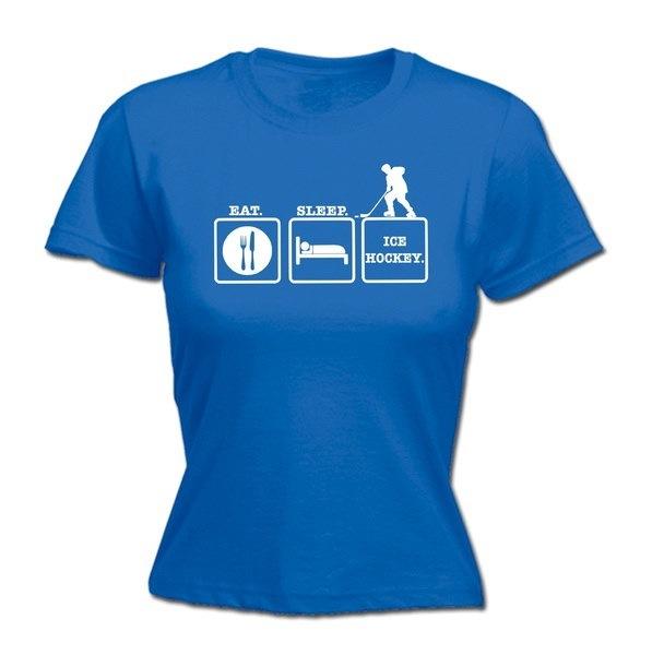 123t女性は睡眠のアイスホッケーを食べる - フィットTシャツ - 面白いレディースTシャツファッション衣類