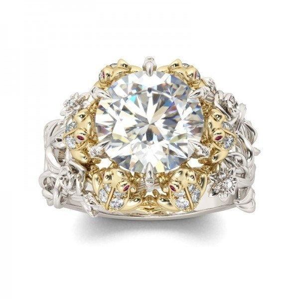 女性925スターリングシルバー5.7 CTホワイトサファイア&ダイヤモンドCZカエル結婚指輪リングサイズ6-10