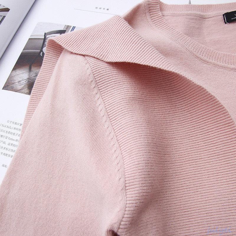 2カラー揃いでサイドフラウンス付き 定番で使える無地 ニット 薄手 ゆったり感 ホワイト、ピンク