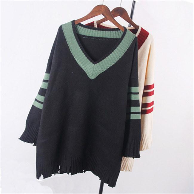レディース  セーター   ♥韓国ファッション♥セーター Vネック ♥ Sweet 長袖  knit swearter  ゆるかニットセーター ゆとりの、修身、独特のデザイン  送料無料