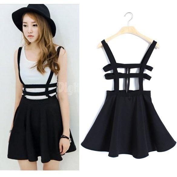 全体的な包帯サスペンダースカート女性ガールフリルスカートプリーツショートドレス(カラー:ブラック)