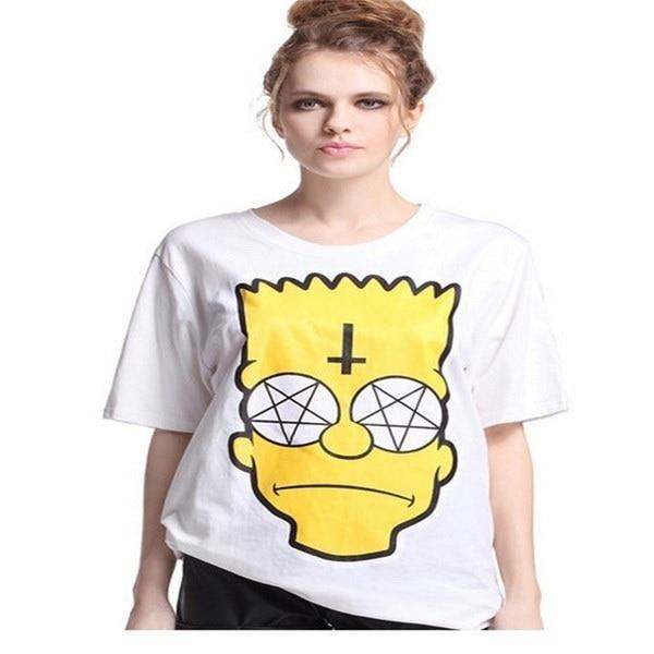 East Knitting 2017ファッションシンプソンヘッドシャツ女性漫画Tシャツ半袖イエローシンプソントップス