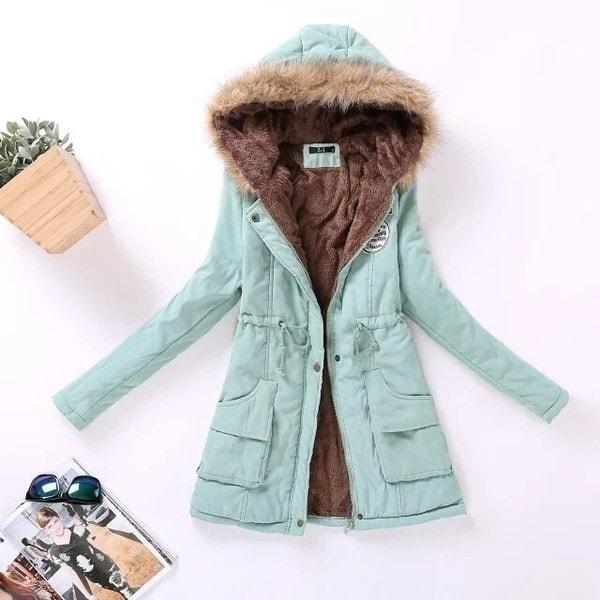ファッションレディースジャケット冬のソリッドフード付きコートカジュアルアウターウェアファーカラージャケットChaquetas Mujer