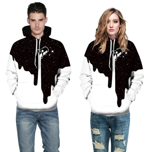New Fashion Couples Black White Hoodie 3D Paint Printed Hoodies Fashion Loose Hooded Tracksuits Stre