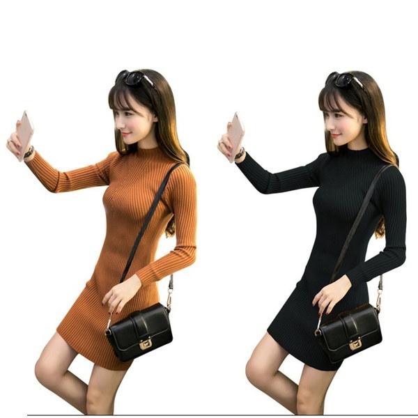 女性の秋のロングスリーブドレスハイネック服スリムドレスボディコンカジュアルコットンニットタートル