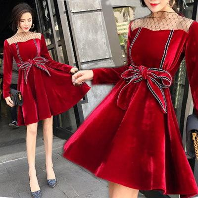 C095韓国ファッション ♥デートにおすす ショートワンピース レース切り替えし 可愛い フェミニン エレガント レースワンピース 普段着 パーティー 会社 卒業式 2次会