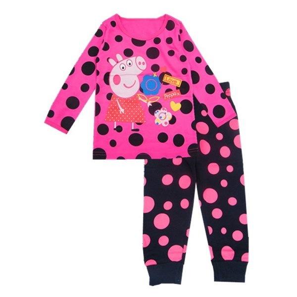 2-7歳女の子秋冬2個パジャマセット:漫画動物トップ+ズボン