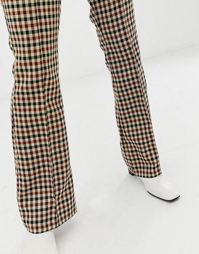 エイソス レディース カジュアルパンツ ボトムス ASOS DESIGN slim kick flare pants in light based check