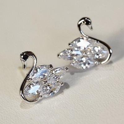 925シルバーイヤリングサファイア天然宝石宝石誕生石の花嫁結婚式の婚約婚約耳のスタッドブランドクラウンイヤリングスタッドイヤリング耳のスタッド花嫁の白鳥のイヤリング(色:青)