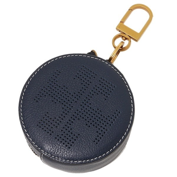 TORY BURCH キーリング トリーバーチ 36732 403 PERFORATED LOGO CIRCLE POUCH KEY FOB ポーチ ROYAL NAVY