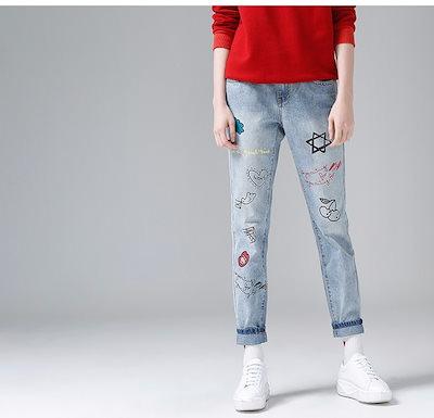 女性ジーンズ デニム ミドルハイウェストプリントゆったりめジーンズ_XL