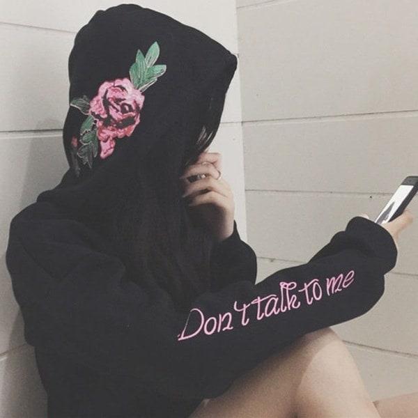 G-formaldresssローズフラワーDON TALK TO ME Hoodies Sweatshirt