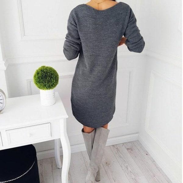 ファッション女性ソリッドOネックセーターロングシャツカジュアルロングスリーブプルオーバードレスベストセラー